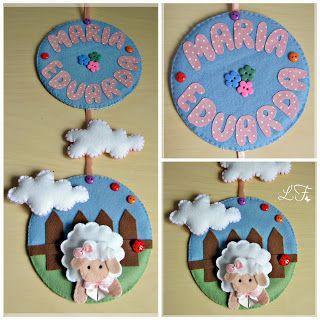 Porta maternidade com tema de ovelha feita com feltro, artesanato