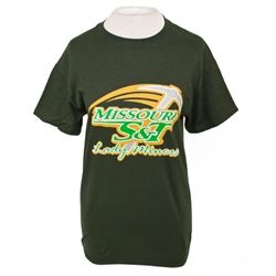 Stay Cool this summer with this lady miner dark green t-shirt.  Fabric & Care:        100% Cotton      Machine Wash Cold    Features & Locations:        Screen Print Center      Short Sleeve