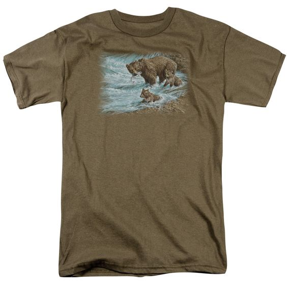 WILDLIFE ALASKAN BROWN BEAR Adult Regular Fit Short Sleeve T-Shirt