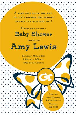Georgia Tech Rattle Baby Shower Invitations