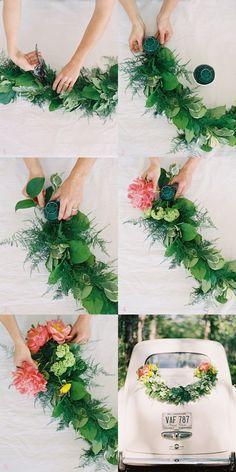 DIY Wedding Getaway Garland by Rosegolden Flowers via Once Wed, photos by Odalys Mendez, styling Ginny Au.