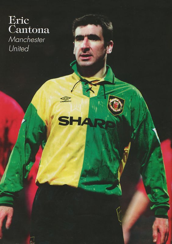 Eric Cantona Manchester United green and yellow away kit 1993