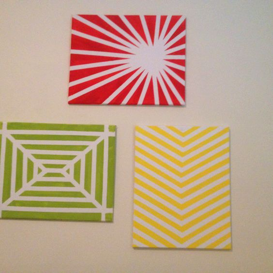 Easy wall art with just canvas masking tape and paint for Easy to do canvas art