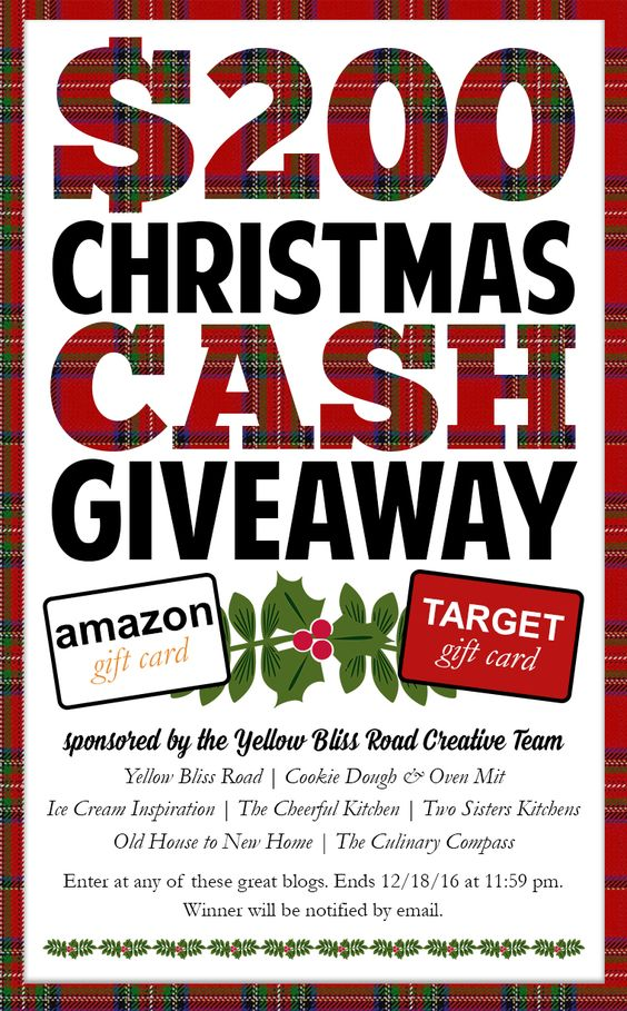 Win $200, just in time for Christmas! Christmas giveaway, cash giveaway, contest