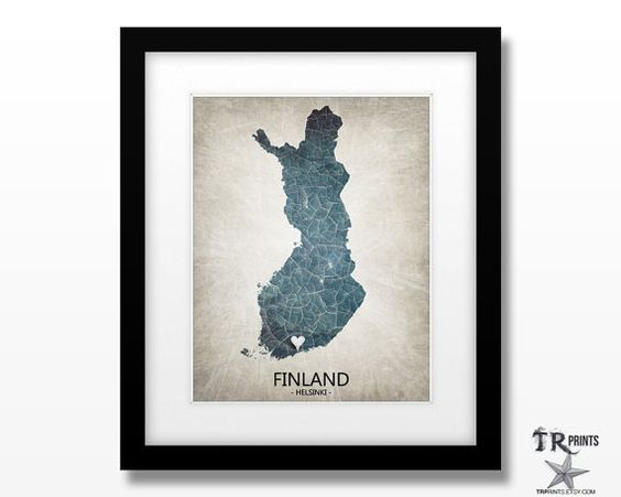 Finland Map Print - Home Is Where The Heart Is Love Map - Original Personalized Map Print 11x14 or Larger