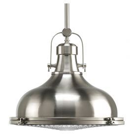 "Highlighted by an industrial-chic shade and a brushed nickel finish, multiples of this handsome pendant can be lined above your kitchen island or breakfast bar for a rustically refined feel.  Product: PendantConstruction Material: Metal and glassColor: Brushed nickelAccommodates: (1) 100 Watt incandescent bulb - not includedDimensions: 13.25"" H x 16"" DiameterNote: Dimmers can be used with any incandescent or halogen light bulbs"