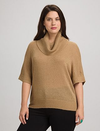 Plus Size Shimmer Cowl Neck Sweater | Dressbarn