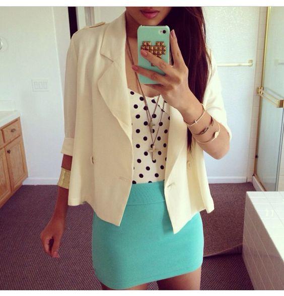Turquoise skirt, polka dot shirt, white blazer outfit