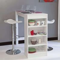 MANGE-DEBOUT CHILI Table bar avec rangements latéraux blanc