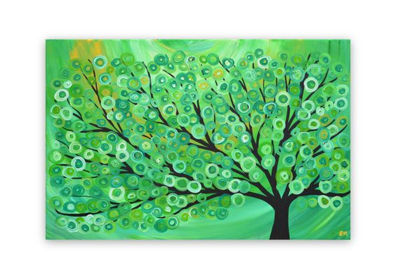 Green, Gold, Lime, Yellow, & White Abstract Tree Painting  £90.00