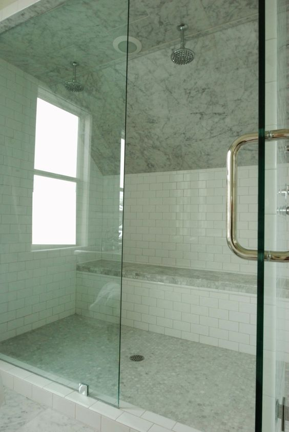White Gold Carrera White Subway Shower Seat Below