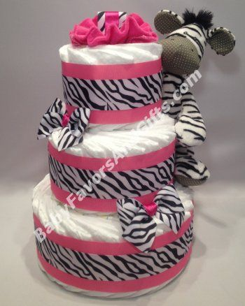Pink Zebra Diaper Cake #pink