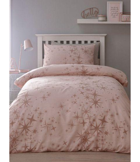 Pink And White Stars Single Duvet Cover And Pillowcase Set Rose Gold Duvet Cover Single Duvet Cover Single Duvet