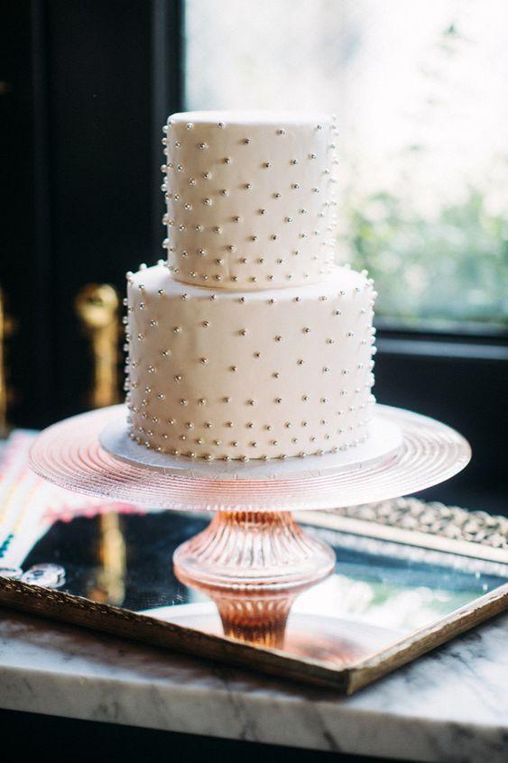 metallic bead wedding cake, photo by Jessica Oh Photography http://ruffledblog.com/punk-rock-bridal-shower #weddingcake #cakes