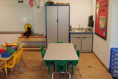 """Even the sink cabinet matches.  I like the colored tables for groups.  """"Blue group get your math workbooks..""""  Yep."""