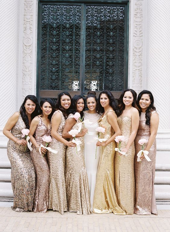#bridemaids in a rainbow of metallics , white single peony bouquet:
