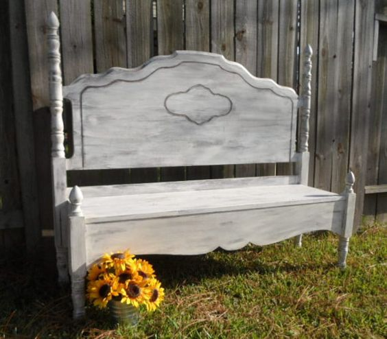 Antique Headboard Bench: Shabby Chic Rustic Bench From Antique Headboard By