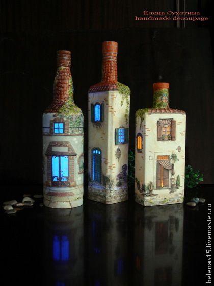 """Бутылка-светильник """"Дом, милый дом! - 4"""". Декупаж бутылки - голубой,бутылка"""