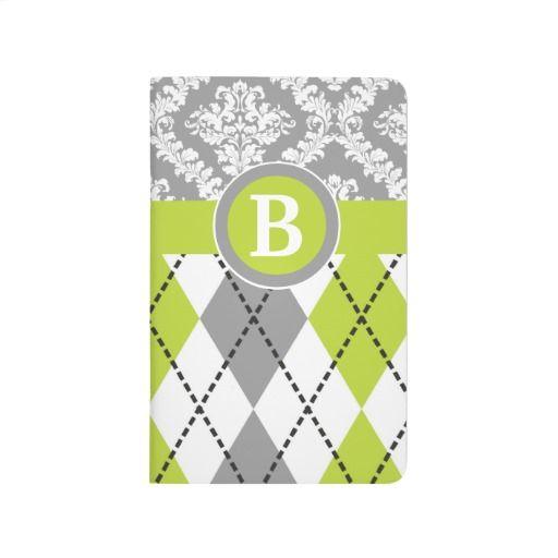 Argyle and damask pattern green, grey monogram pocket journal. #argyle, #damask, #monogram, #journal, #pocketjournal