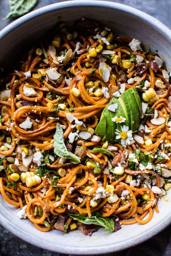 Never had anything like this corn, feta and basil sweet potato noodle carbonara - it's SO good!