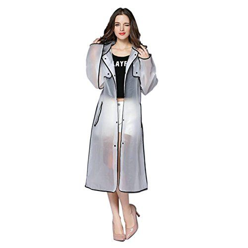 Hzjundasi Mujer Fashionable EVA Transparent Impermeable Largo Deportes Portable Ropa Impermeable Encapuchado Poncho Al Aire Libre Excursionismo Chubasquero