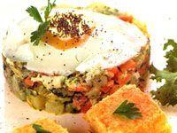 Receitas - Seleta de legumes com ovo poché de tofu grelhado - Petiscos.com