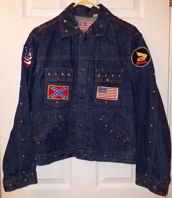 Vintage Motorcycle Dee Cee USA Jean Jacket w/ Studs Honda Peace