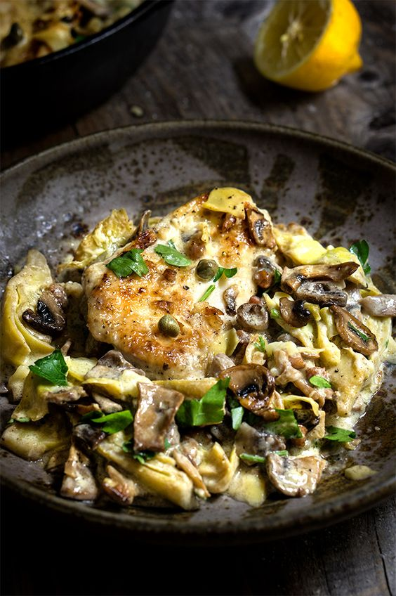 Chicken scallopini with mushrooms and artichokes in a luscious lemon butter sauce - simply divine!   www.viktoriastable.com