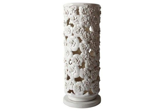 Tall Pottery Flower Umbrella Stand