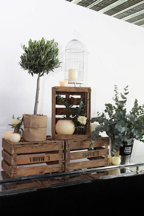 wooden crate/box. caja de madera. wedding. boda. decoration. decoración. candles. velas. jaula. birdcage plants. plantas. www.yourbox.bigcartel.com