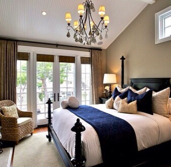 Navy Blue And Beige Bedroom, But With Lighter Brown Bed
