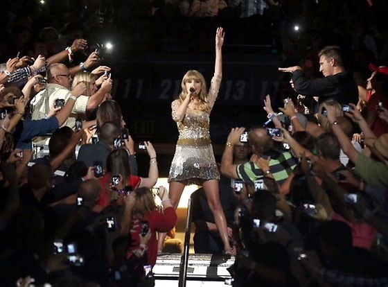 Started with Sparks Fly. In the crowd