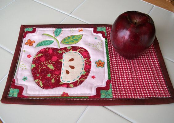 Snack Mat  Mug Rug  or Computer Mouse Pad  Set by QuiltingFrenzy, $15.00