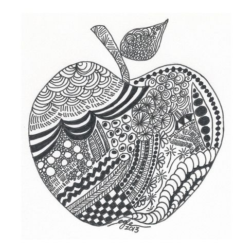 Zentangle Apple Art 1 Apple Art Zentangle Apple Art Art Art Drawings Sketches Simple