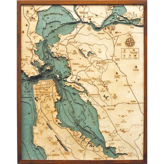 San Francisco/Bay Area Laser Cut Marine Chart (25w 31h) By Thos. Baker