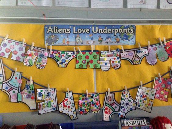 Literacy, Aliens Love Underpants, Display, Classroom display, Book, Aliens, Love, Pants, Early Years (EYFS), KS1 & KS2 Primary Teaching Resources