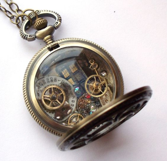 """[DOCTOR WHO] Doctor Who Pocket Watch Necklace """"The Light of Distant Stars"""". $49.00, via Etsy"""