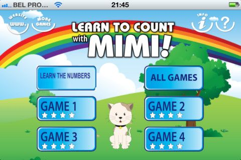 Learn to Count with Mimi ($1.99) contains 4 different games and an 'all games' mode, each of which are available in 4 levels of difficulty. Learn the numbers 1 to 10, by combining three inputs: the number itself is shown and read and a this amount of animals or other items is shown and counted loudly.  Game 1 : Fill the shopping basket, Game 2 : Let's make a pizza !, Game 3 : Count the animals, Game 4 : Feed the animals