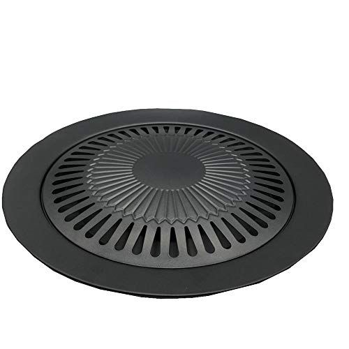 Alloy Barbecue Plate Outdoor Cassette Oven Grill Plate Round Portable Non Stick Pan Iron Plate Black 31 5cm5cm25cm Indoor Grill Grill Pan Grilling