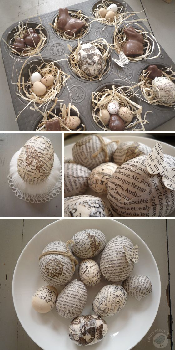 some eggs with newsprint and tissue tape to create a little Easter nest in an old English muffins mold with some paper grass, chocolate bunnies and eggs.: