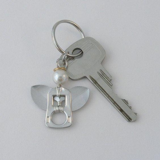 pop tab keychain  angel wire wrapped  ♥♥♥