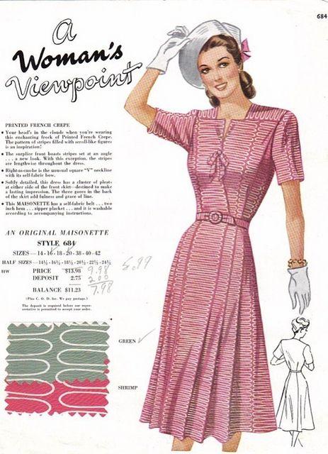 mid to late 1940's Maisonette Salesman's sample card