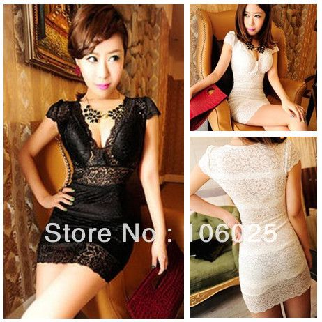 Summer Fashion Women's Korean Deep V neck sexy slim hip package / bandage Full Lace dresses cocktail party dresses US $9.97