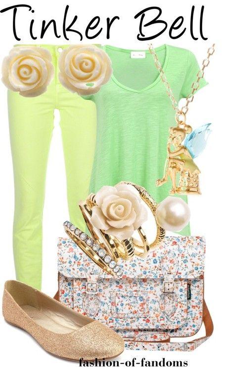 Zelena majica,zute pantalone,zlatne baletanke,lancic sa priveskom i prstenje,sarena cvetna torba...