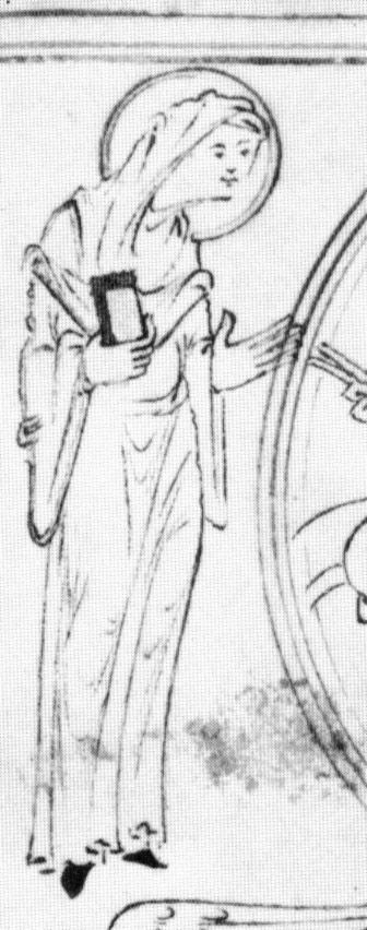 Detail: Mary, The New Minster Liber Vitae. It looks like she has a belt.