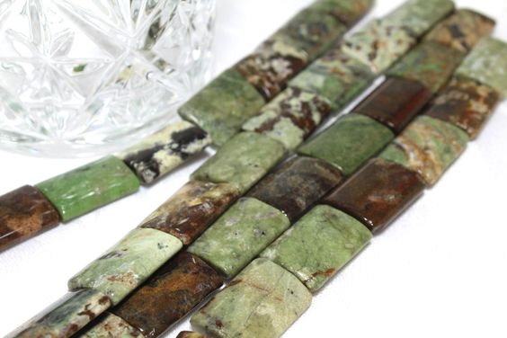 Genuine Green Opal Rectangle Stone Beads 20x15x5mm 4pcs by BeadtotheMax on Etsy