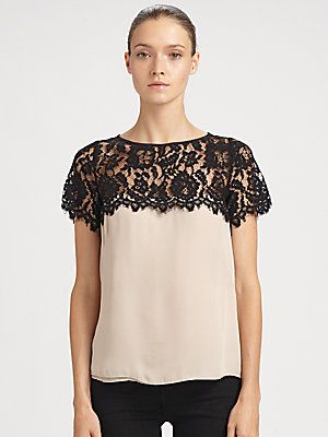 """Milly Mila Lace-Trim Silk Top $285 at Net-A-Porter and Saks that Robin wore on How I Met Your Mother """"The Ashtray"""" episode"""