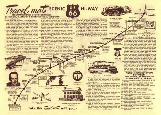 Love this Route 66 diner placemat and route map – Map My Travel Route