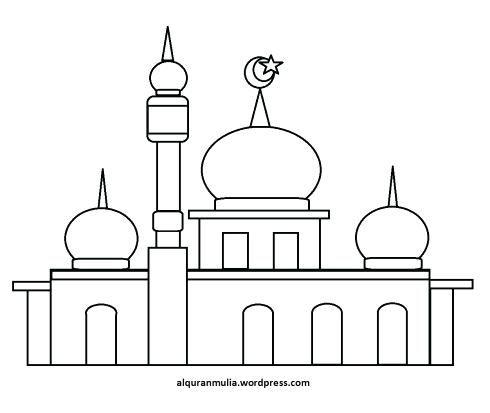 Gambar Mewarnai Masjid Di 2020 Dengan Gambar Warna Belajar Menggambar Desain Arsitektur