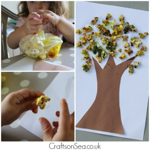 popcorn autumn tree craft for kids